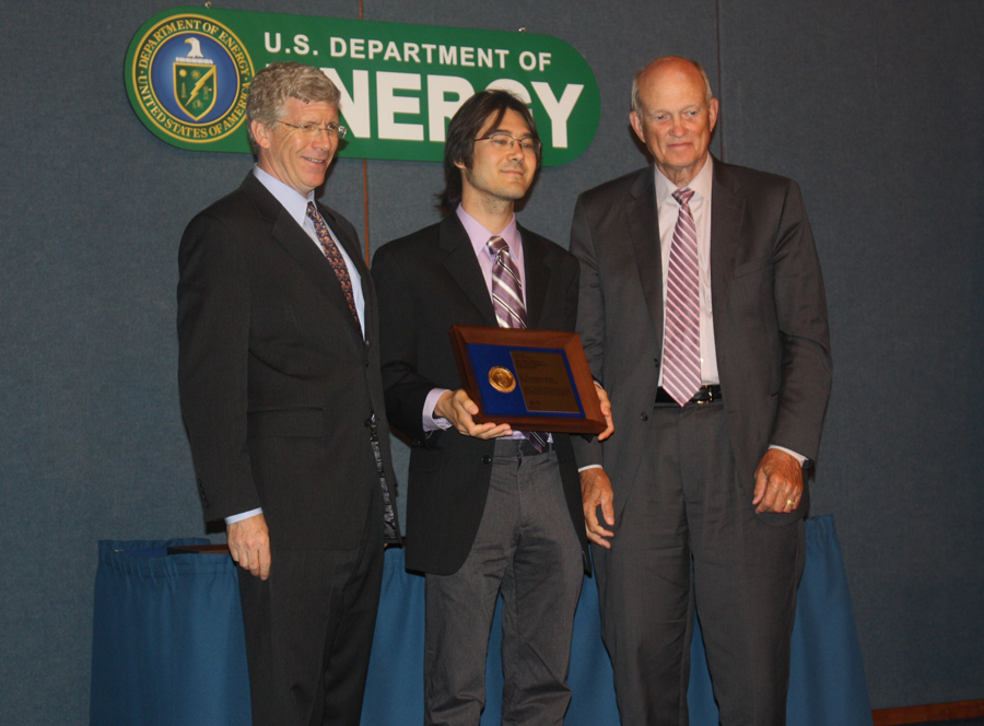 PECASE winner Dr. Christopher Hirata with Deputy Secretary of Energy Daniel B. Poneman and Director of the Office of Science, Dr. William Brinkman