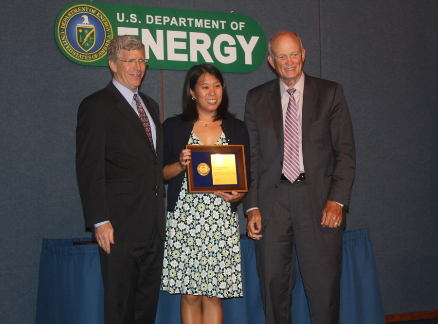 PECASE winner Dr. Heileen Hsu-Kim with Deputy Secretary of Energy Daniel B. Poneman and Director of the Office of Science, Dr. William Brinkman
