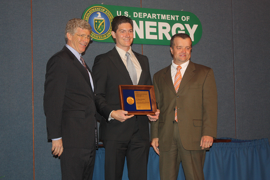 PECASE awardee Dr. Thomas Jaramillo with Deputy Secretary of Energy Daniel B. Poneman and Steve Chalk, Deputy Assistant Secretary for Renewable Energy in the Office of Energy Efficiency and Renewable Energy
