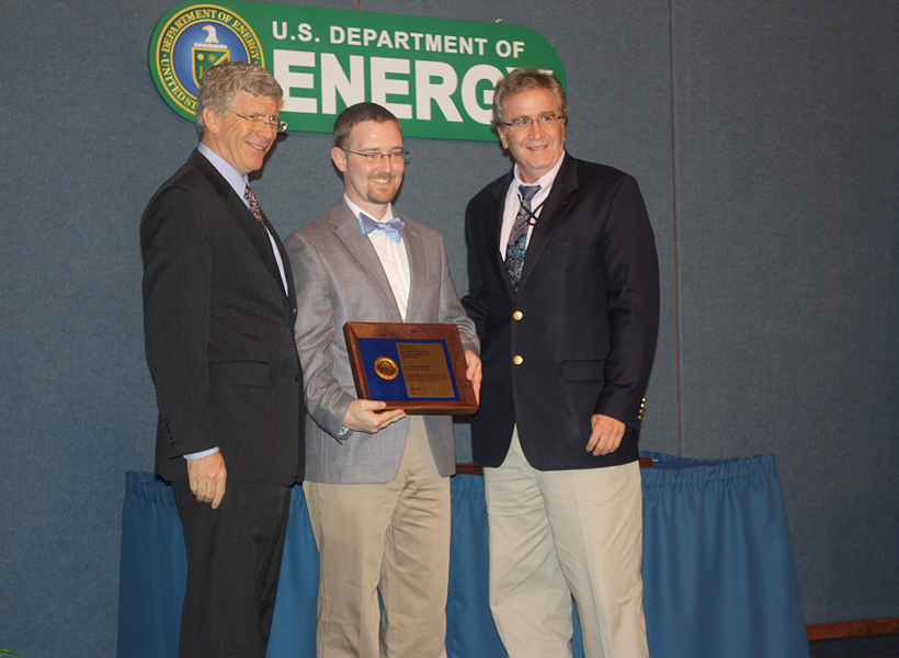 PECASE awardee Dr. John R. Kitchin with Deputy Secretary of Energy Daniel B. Poneman and Dr. Anthony Cugini, Director of NETL