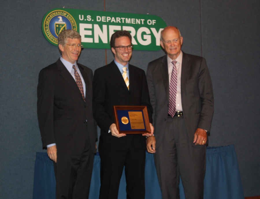 PECASE awardee Dr. Jesse Thaler with Deputy Secretary of Energy Daniel B. Poneman and Director of the Office of Science, Dr. William Brinkman