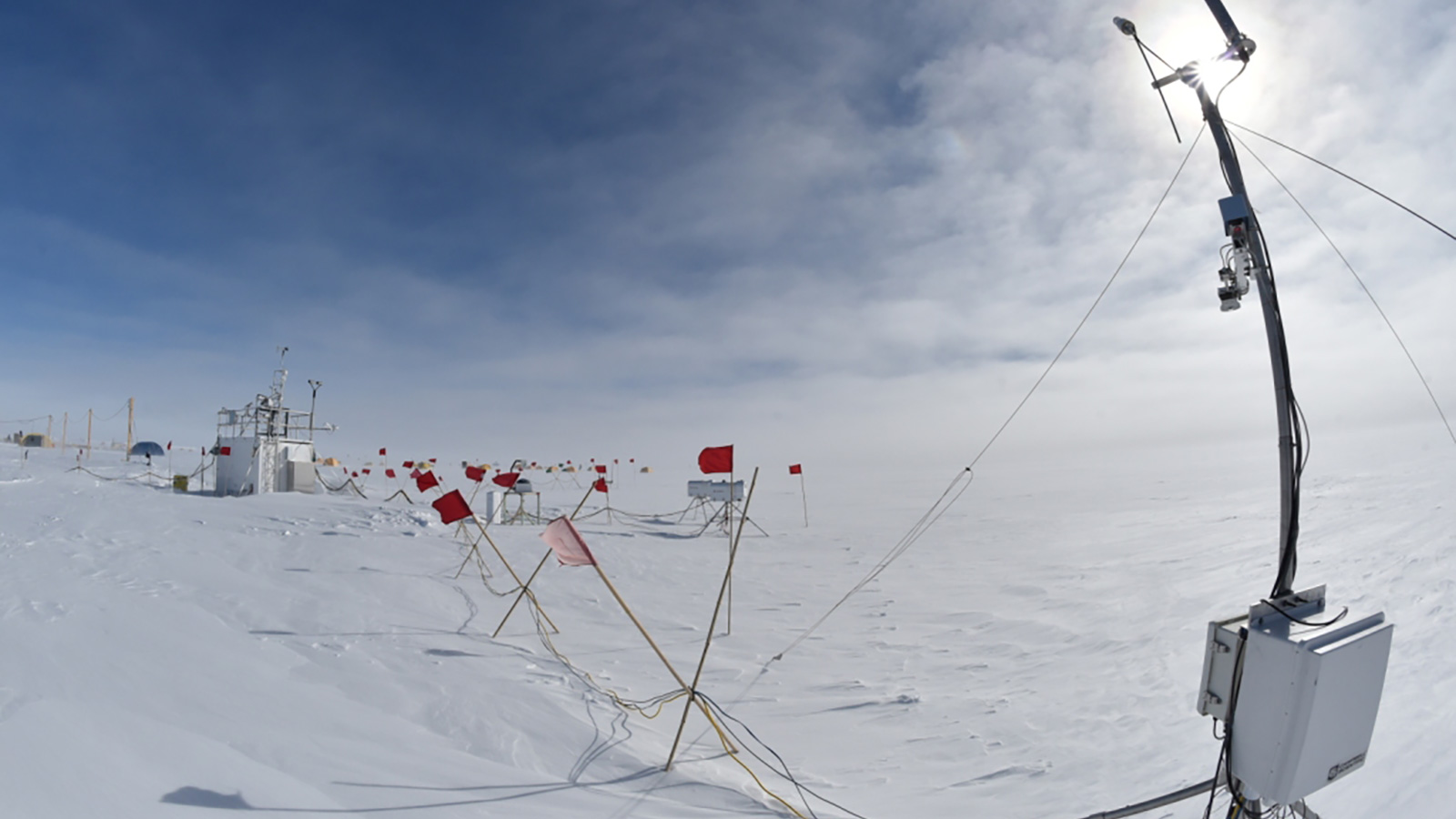Beginning in late November 2015, a set of ARM equipment was deployed to the West Antarctic Ice Sheet, including basic radiometric, surface energy balance and upper air equipment directly to make the first well-calibrated climatological suite of measurements seen in this extremely remote, but globally critical, region in more than 40 years. (Image by U.S. Department of Energy Atmospheric Radiation Measurement [ARM] Research Facility.)