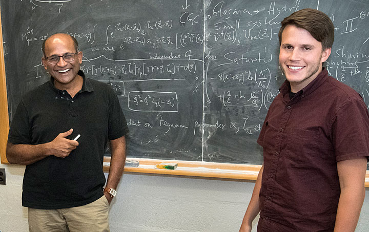 Raju Venugopalan and Mark Mace, two members of a collaboration that maintains quantum mechanical interactions among gluons are the dominant factor creating particle flow patterns observed in collisions of small projectiles with gold nuclei at the Relativistic Heavy Ion Collider (RHIC).