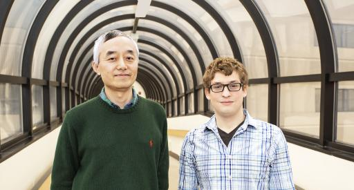 Physicists Jonathan Jara-Almonte, right, and Hantao Ji, coauthor and adviser.