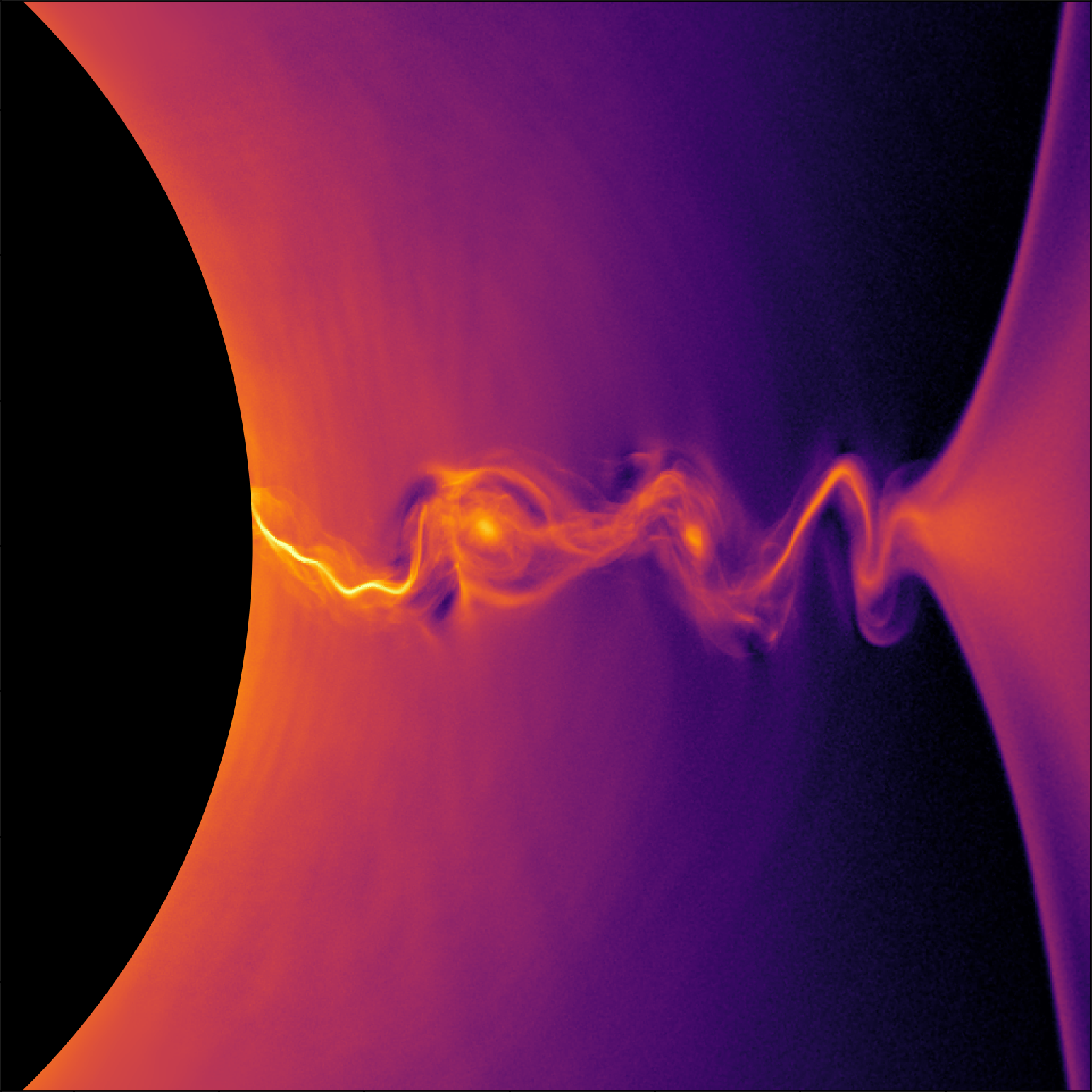 This visualization of a general-relativistic collisionless plasma simulation shows the density of positrons near the event horizon of a rotating black hole. Plasma instabilities produce island-like structures in the region of intense electric current. (Credit: Kyle Parfrey et al./Berkeley Lab)