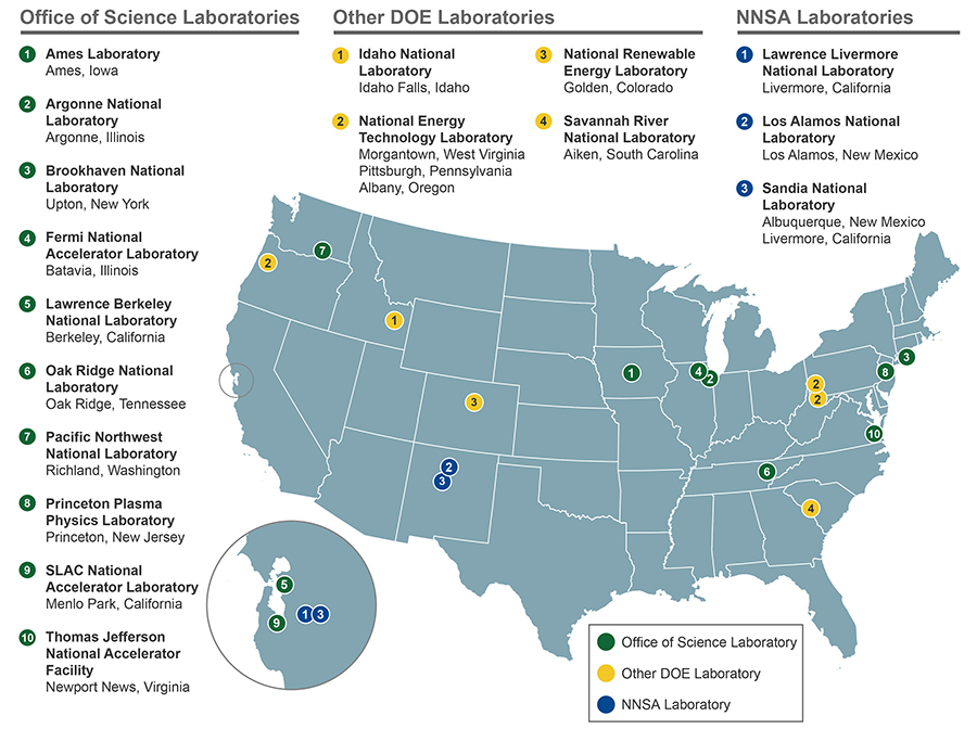 DOE Laboratories Map