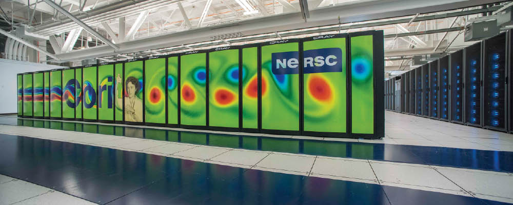 Photo of the NERSC Cray Cori supercomputer.