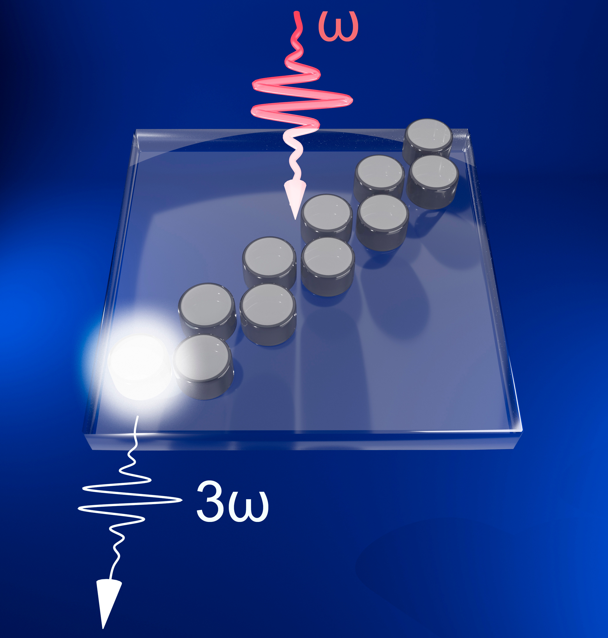 A graphic with a blue background, 10 gray spheres in two columns lined up at an angle across a trapezoid with a star of light in the lower left corner.