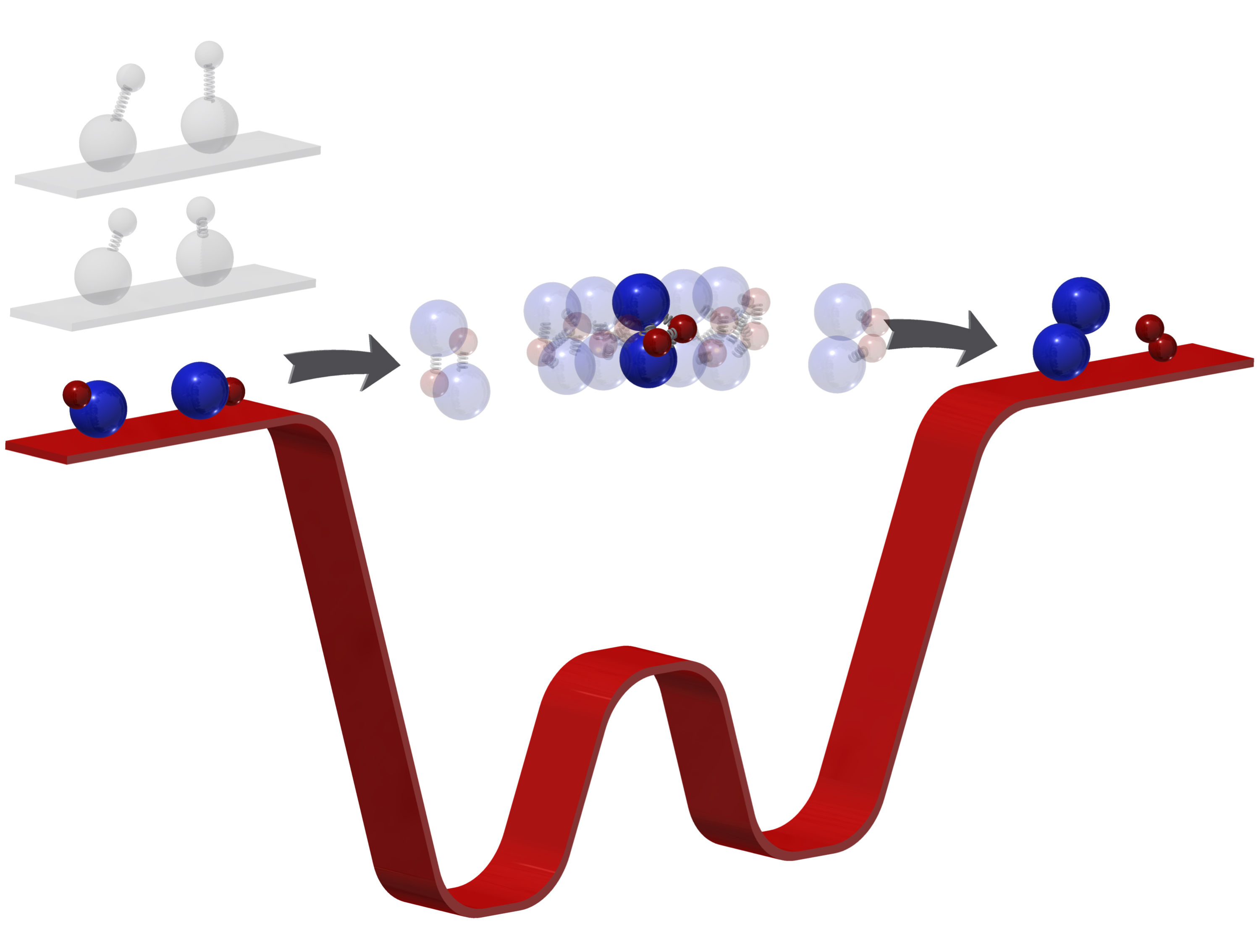 White and blue particles in a flow with arrows above a red ribbon shaped like a W.