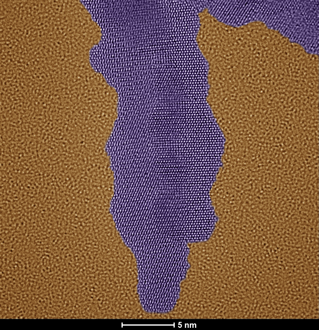 Purple nanoparticle on gold background looks like a cloud dripping from the top.
