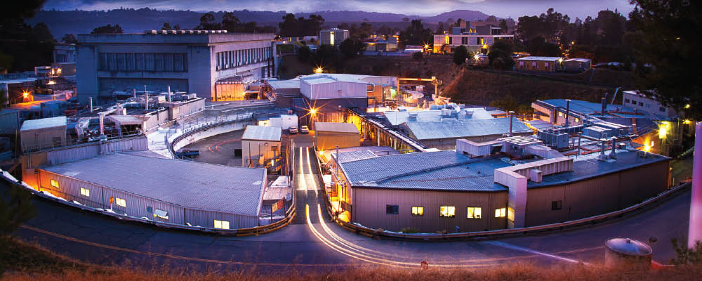 The Stanford Synchrotron Radiation Light Source Facility at Dusk.
