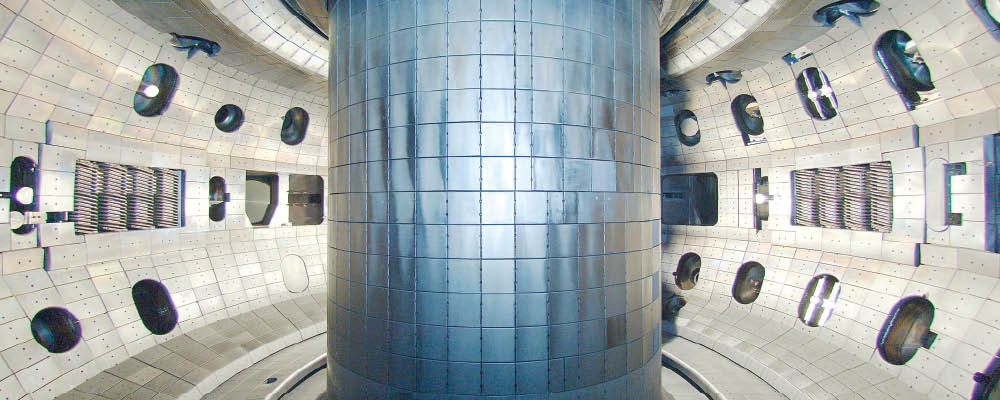 Inside the DIII-D tokamak experiment.