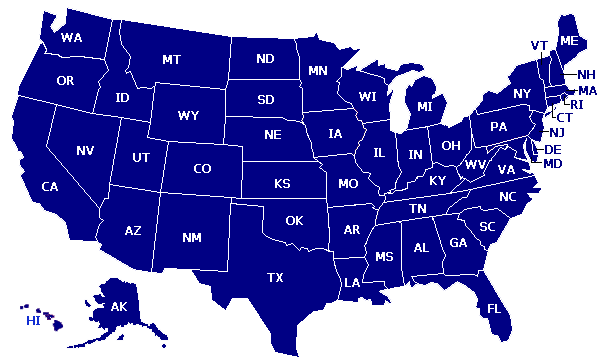 Map of states in USA